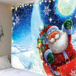 Lighting Stars Santa Claus Pattern Waterproof Wall Art Tapestry - Colorful - W79 Inch * L71 Inch