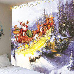 Waterproof Christmas Carriage and Castle Printed Wall Hanging Tapestry - Colorful - W59 Inch * L51 Inch