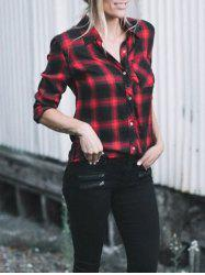 Casual Checked Button Up Shirt - RED S