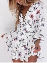 Plunge Lace-up Floral Chiffon Dress - Blanc S