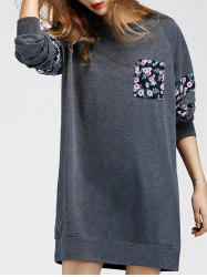 Floral Print Shift Casual Sweatshirt Dress - GRAY S