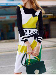 Color Block Sheath Fitted Pinafore Dress - COLORMIX S