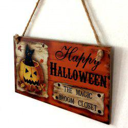 Halloween Cat Pattern Door Decor Wooden Hanging Sign - Orange Red