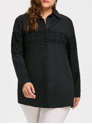 Lace Embroidered Button Up Plus Size Long Shirt - BLACK 2XL