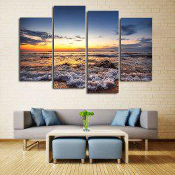 Beach Sunset Print Unframed Split Canvas Paintings - 2pcs:12*24,2pcs:12*31 Inch( No Frame )