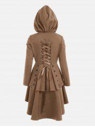 Lace Up Layered High Low Hooded Coat - KHAKI M