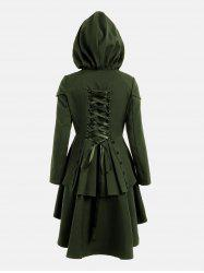 Lace Up Layered High Low Hooded Coat - ARMY GREEN M
