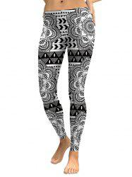 Skinny Digital Floral Leggings - Blanc et Noir S