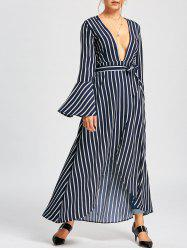 Striped Plunged Flare Sleeve High Low Dress -