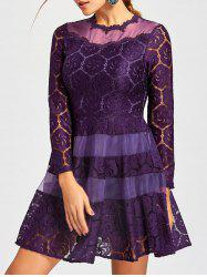 Mini Lace A Line Dress - PURPLE S
