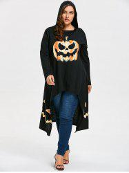 Plus Size Hooded High Low Halloween Pumpkin Tee - Black - 5xl