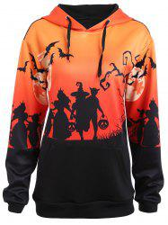 Plus Size Halloween Bat Moon Print Hoodie with Pocket - BLACK 5XL