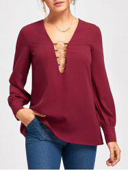 Metal Circle Plunging Neck Long Sleeve Top -