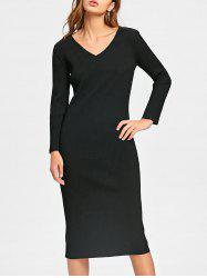 Cut Out Long Sleeve Mid Calf Ribbed Dress - BLACK M
