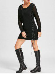 Distressed Lace Up Mini Jumper Dress -