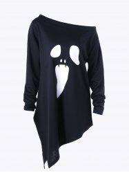 Halloween Plus Size Graphic Asymmetric Skew Neck Sweatshirt - BLACK 3XL