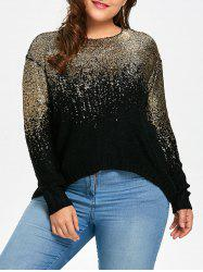 Plus Size Golden Ombre Drop Shoulder Sweater -