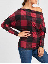 Skew Collar Plaid Batwing Sleeve Top -