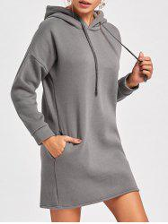 Drop Shoulder Mini Hoodie Dress -