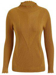 Plus Size Ribbed High Neck Sweater -