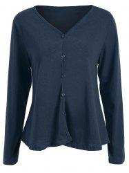 Plus Size V Neck Button Up Cardigan -