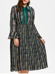 Plus Size Striped Floral Print Bell Sleeve Pleated Dress -
