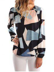 Zipper Back Color Block Blouse -