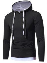 Faux Twinset Hooded Drawstring T-shirt -