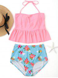Peplum High Waisted Floral Tankini Set -