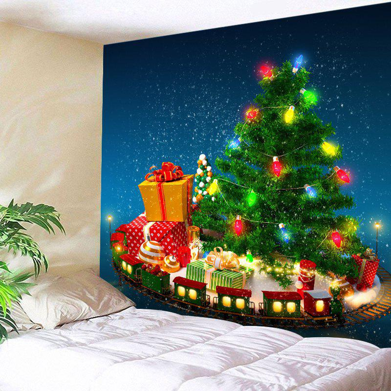 Christmas Tree Gifts Print Tapestry Wall Hanging Art DecorationHOME<br><br>Size: W59 INCH * L51 INCH; Color: GREEN; Style: Festival; Theme: Christmas; Material: Polyester; Feature: Washable; Shape/Pattern: Plant; Weight: 0.3000kg; Package Contents: 1 x Tapestry;