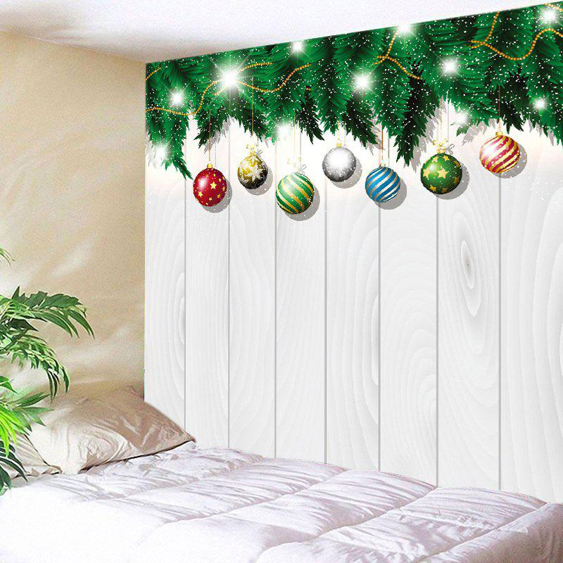 Christmas Baubles Wood Print Tapestry Wall Hanging Art DecorationHOME<br><br>Size: W79 INCH * L71 INCH; Color: WHITE; Style: Festival; Theme: Christmas; Material: Polyester; Feature: Washable; Shape/Pattern: Ball,Plant; Weight: 0.4000kg; Package Contents: 1 x Tapestry;