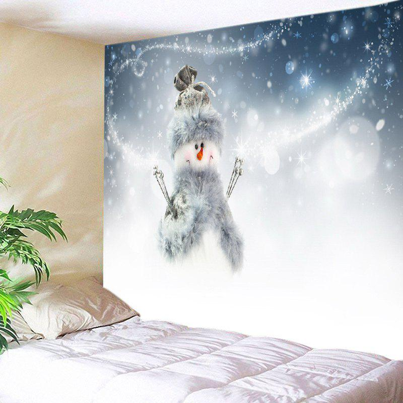 Christmas Snowman Print Tapestry Wall Hanging DecorationHOME<br><br>Size: W91 INCH * L71 INCH; Color: WHITE; Style: Festival; Theme: Christmas; Material: Polyester; Feature: Washable; Shape/Pattern: Snowman; Weight: 0.4000kg; Package Contents: 1 x Tapestry;
