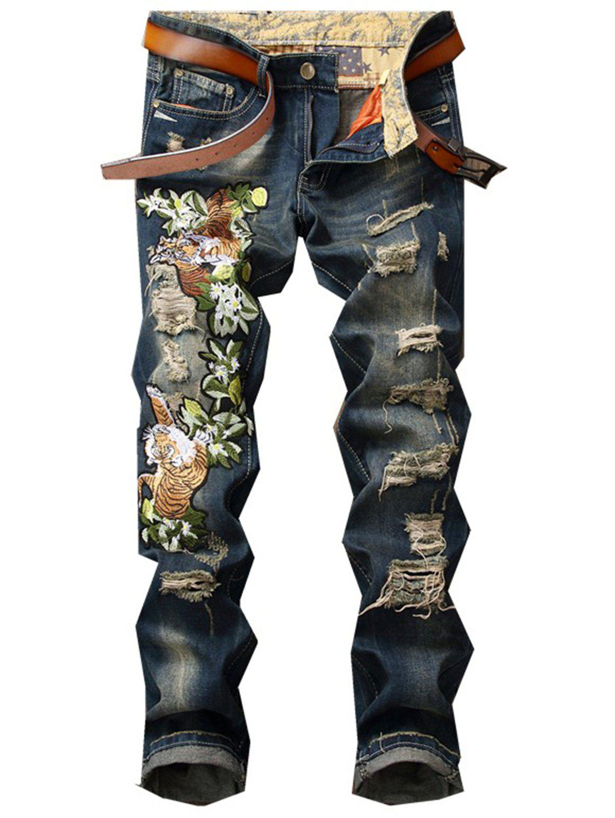 Tiger and Floral Embroidered Ripped JeansMEN<br><br>Size: 34; Color: DENIM BLUE; Material: Jean,Polyester; Pant Length: Long Pants; Wash: Destroy Wash; Fit Type: Regular; Closure Type: Zipper Fly; Weight: 0.7500kg; Pant Style: Straight; Package Contents: 1 x Jeans; With Belt: No;