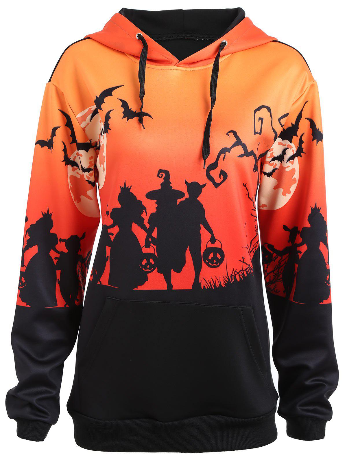 Fashion Plus Size Halloween Bat Moon Print Hoodie with Pocket
