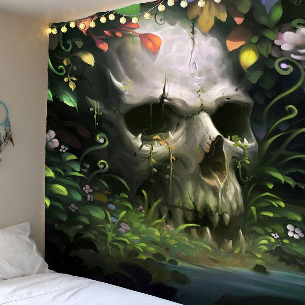 Halloween Floral Skulls Pattern Wall Decor TapestryHOME<br><br>Size: W59 INCH * L51 INCH; Color: GREY AND GREEN; Style: Festival; Theme: Halloween; Material: Polyester; Feature: Removable,Washable; Shape/Pattern: Skull; Weight: 0.2100kg; Package Contents: 1 x Tapestry;