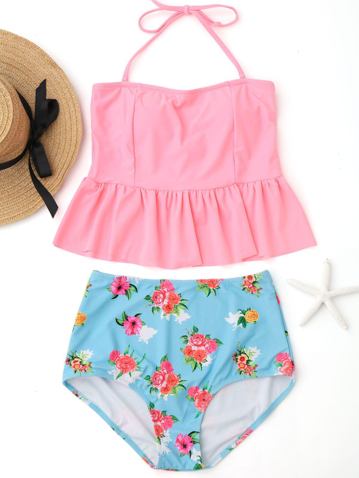 Shop Peplum High Waisted Floral Tankini Set