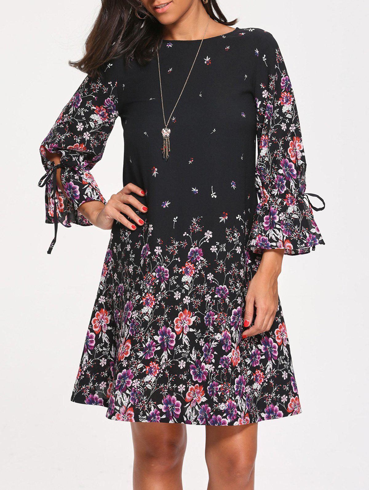 Three Quarter Sleeve Tiny Floral Print DressWOMEN<br><br>Size: XL; Color: BLACK; Style: Casual; Material: Polyester; Silhouette: Shift; Dress Type: Tunic Dress; Dresses Length: Knee-Length; Neckline: Round Collar; Sleeve Length: 3/4 Length Sleeves; Waist: Natural; Pattern Type: Floral,Print; With Belt: No; Season: Fall,Spring; Weight: 0.2700kg; Package Contents: 1 x Dress;