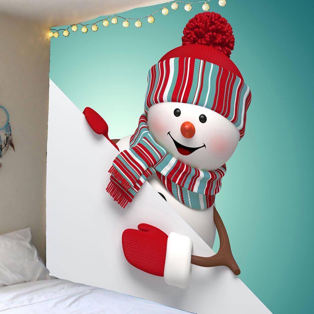 Waterproof Cute Christmas Snowman Pattern Wall Art TapestryHOME<br><br>Size: W79 INCH * L71 INCH; Color: COLORFUL; Style: Festival; Theme: Christmas; Material: Velvet; Feature: Removable,Washable,Waterproof; Shape/Pattern: Snowman; Weight: 0.3900kg; Package Contents: 1 x Tapestry;