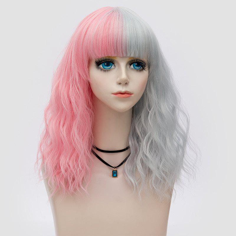 Medium Full Bang Double Color Natural Wave Synthetic Party WigHAIR<br><br>Color: PINK AND GREY; Type: Full Wigs; Cap Construction: Capless; Style: Wavy; Cap Size: Average; Material: Synthetic Hair; Bang Type: Full; Length: Medium; Occasion: Party; Length Size(CM): 45; Weight: 0.1640kg; Package Contents: 1 x Wig;