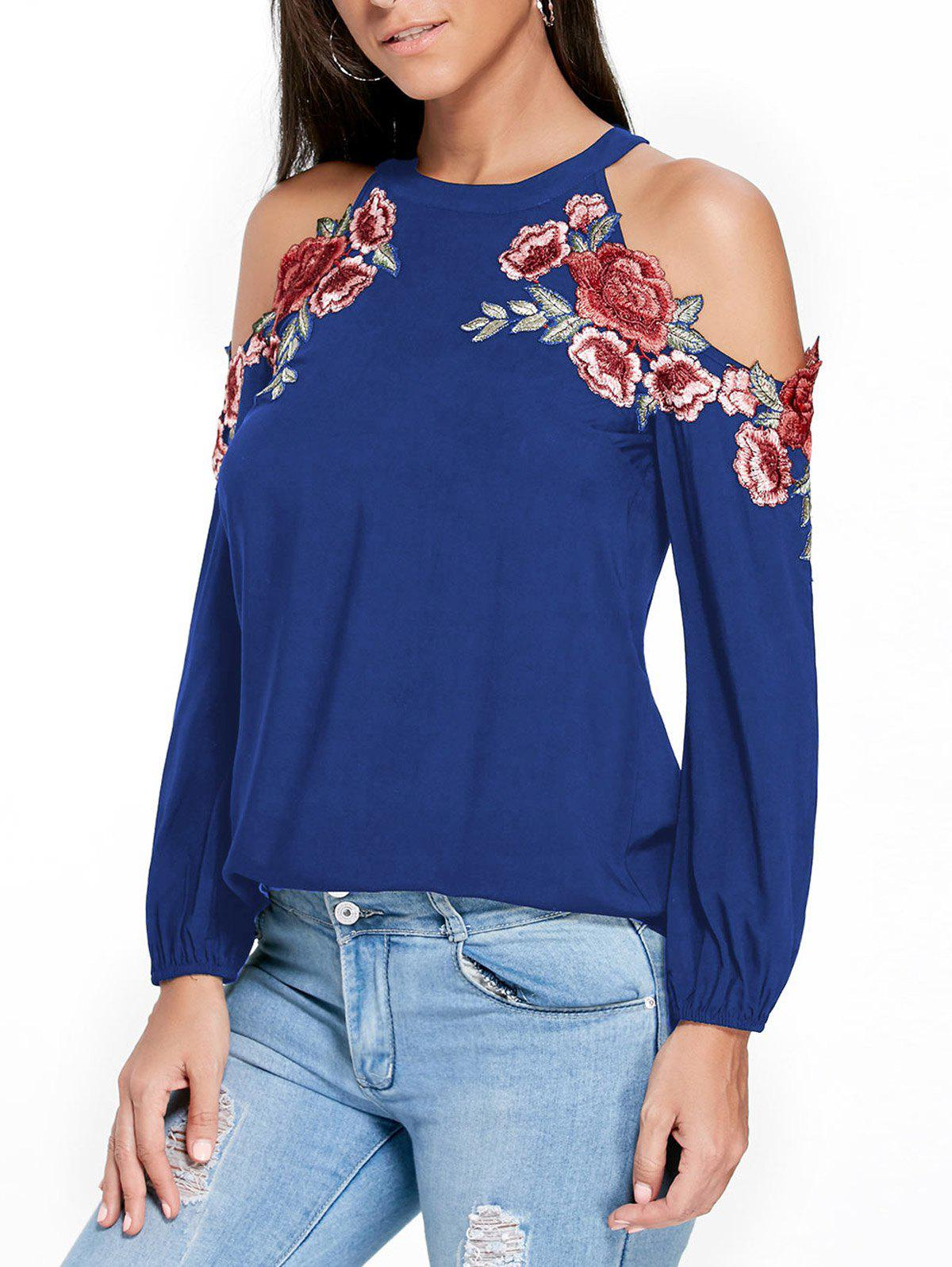 Outfits Applique Embroidery Open Shoulder Top