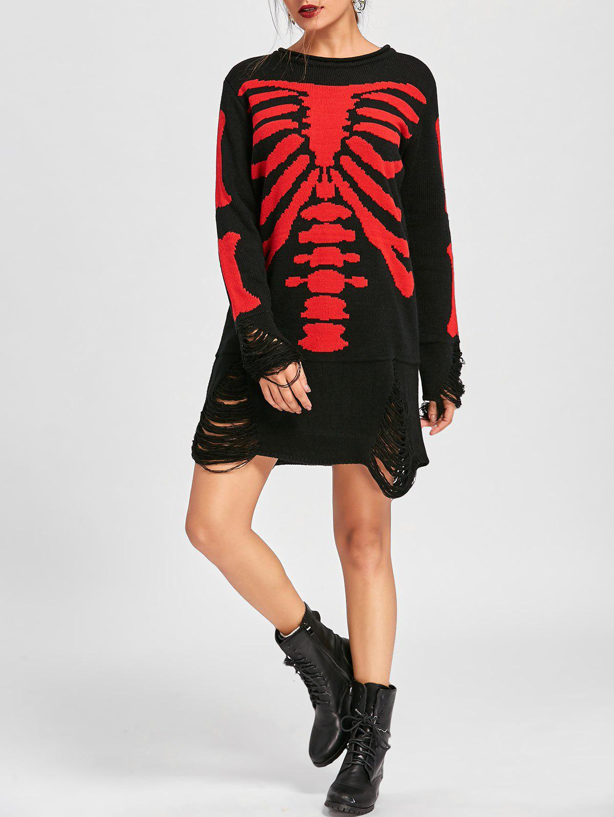 Halloween Distressed Skeleton Jumper DressWOMEN<br><br>Size: M; Color: BLACK RED; Style: Brief; Material: Acrylic; Silhouette: Straight; Dresses Length: Mini; Neckline: Crew Neck; Sleeve Length: Long Sleeves; Pattern Type: Skeleton; With Belt: No; Season: Fall,Spring; Weight: 0.5200kg; Package Contents: 1 x Dress; Occasion: Causal,Club,Night Out;