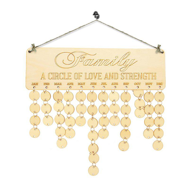 DIY Wooden Family Birthday Calendar Reminder BoardHOME<br><br>Color: IVORY YELLOW; Candle Type: Wood Crafts; Use: Home Decoration; Material: Wood; Weight: 0.1700kg; Package Contents: 1 x Birthday Board (Set);