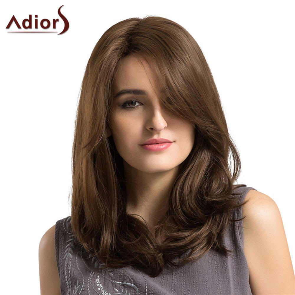 Adiors Long Side Parting Layered Fluffy Straight Bob Synthetic WigHAIR<br><br>Color: BROWN; Type: Full Wigs; Cap Construction: Capless (Machine-Made); Style: Straight; Material: Synthetic Hair; Bang Type: Side; Length: Long; Length Size(CM): 46; Weight: 0.2000kg; Package Contents: 1 x Wig;