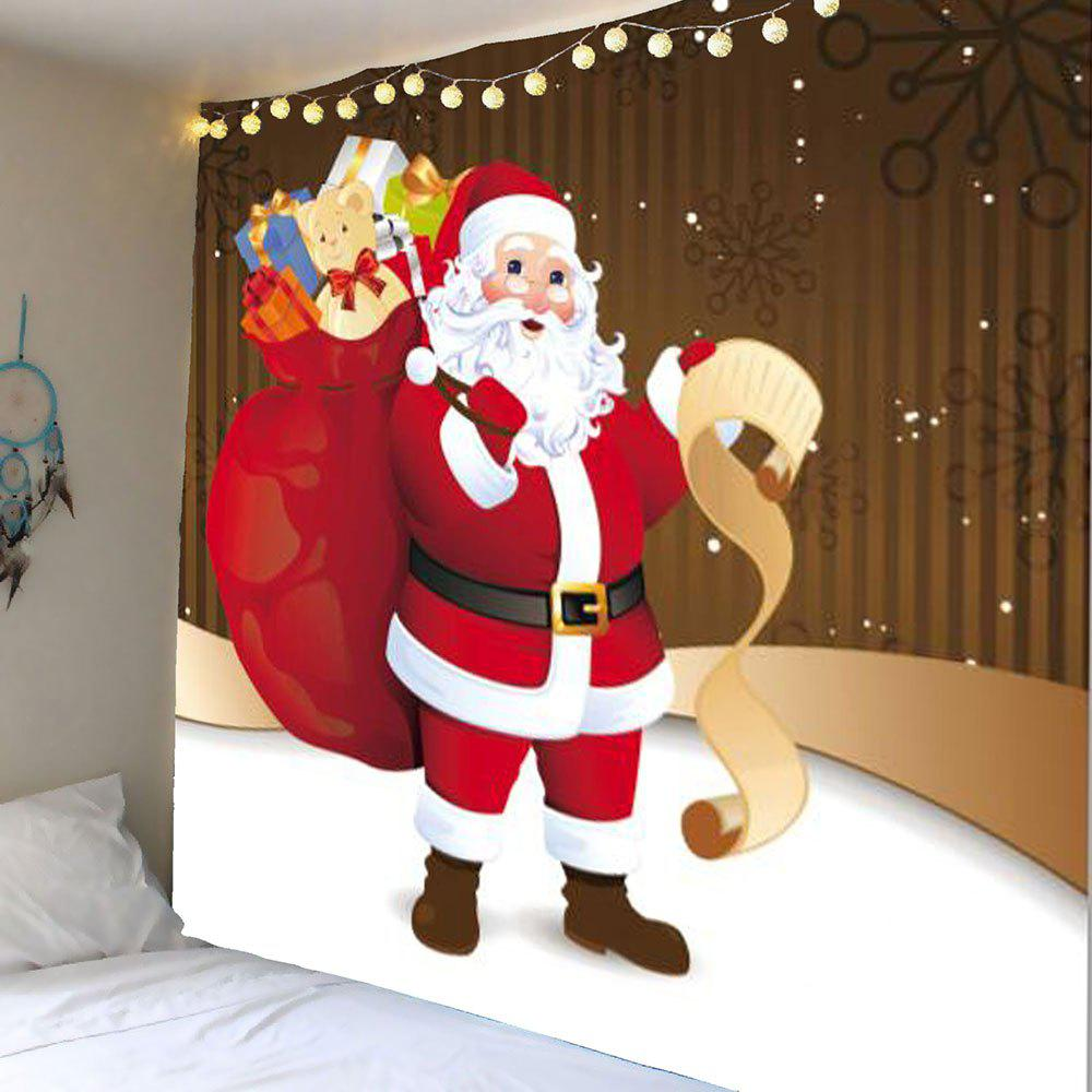 Hanging Santa Claus With Gifts Patterned Wall TapestryHOME<br><br>Size: W79 INCH * L71 INCH; Color: COLORFUL; Style: Festival; Theme: Christmas; Material: Polyester; Feature: Removable; Shape/Pattern: Gift,Santa Claus,Snow; Weight: 0.3800kg; Package Contents: 1 x Tapestry;
