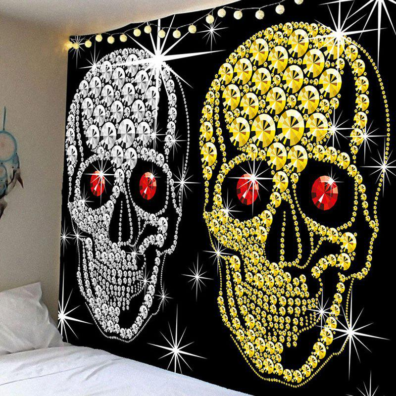 Halloween Gold Sliver Coin Skulls Wall Decor Waterproof  TapestryHOME<br><br>Size: W79 INCH * L71 INCH; Color: BLACK; Style: Festival; Theme: Christmas; Material: Velvet; Feature: Removable,Waterproof; Shape/Pattern: Skull; Weight: 0.3800kg; Package Contents: 1 x Tapestry;