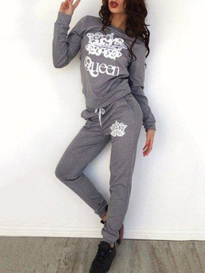 Queen Print Sweatshirt with PantsWOMEN<br><br>Size: S; Color: GRAY; Style: Casual; Length: Normal; Material: Polyester; Fit Type: Loose; Waist Type: Mid; Closure Type: Elastic Waist; Front Style: Flat; Pattern Type: Others; Pant Style: Straight; With Belt: No; Weight: 0.4200kg; Package Contents: 1 x Sweatshirt  1 x Pants;