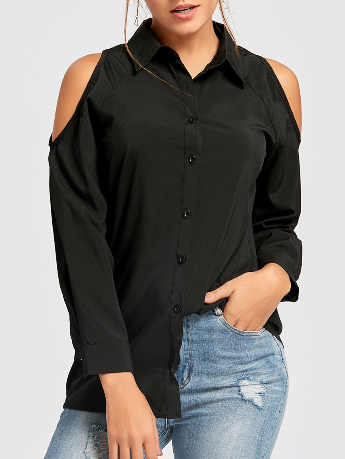 Button Down Cold Shoulder Tunic ShirtWOMEN<br><br>Size: XL; Color: BLACK; Style: Fashion; Material: Cotton,Polyester; Shirt Length: Regular; Sleeve Length: Full; Collar: Shirt Collar; Pattern Type: Solid; Season: Fall,Spring; Weight: 0.2500kg; Package Contents: 1 x Shirt;