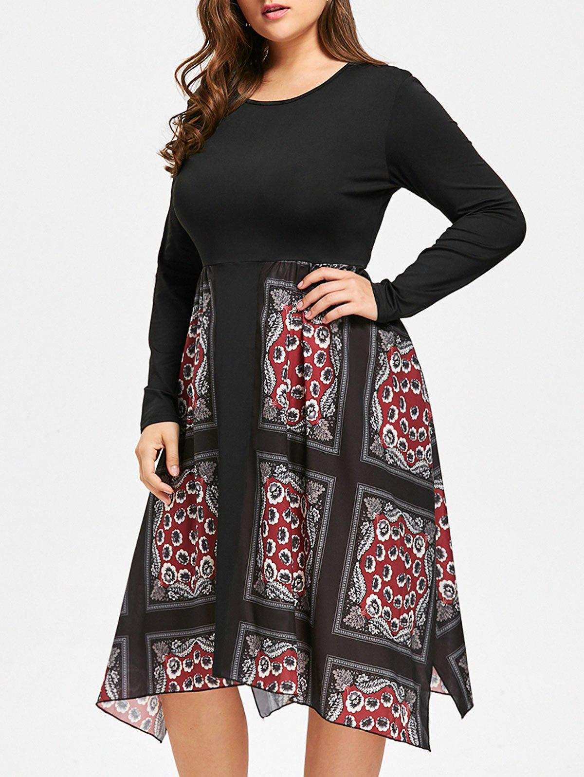 Floral Print Handkerchief Plus Size DressWOMEN<br><br>Size: 4XL; Color: BLACK; Style: Casual; Material: Cotton,Polyester; Silhouette: A-Line; Dresses Length: Mid-Calf; Neckline: Round Collar; Sleeve Length: Long Sleeves; Pattern Type: Floral; With Belt: No; Season: Fall; Weight: 0.3500kg; Package Contents: 1 x Dress;