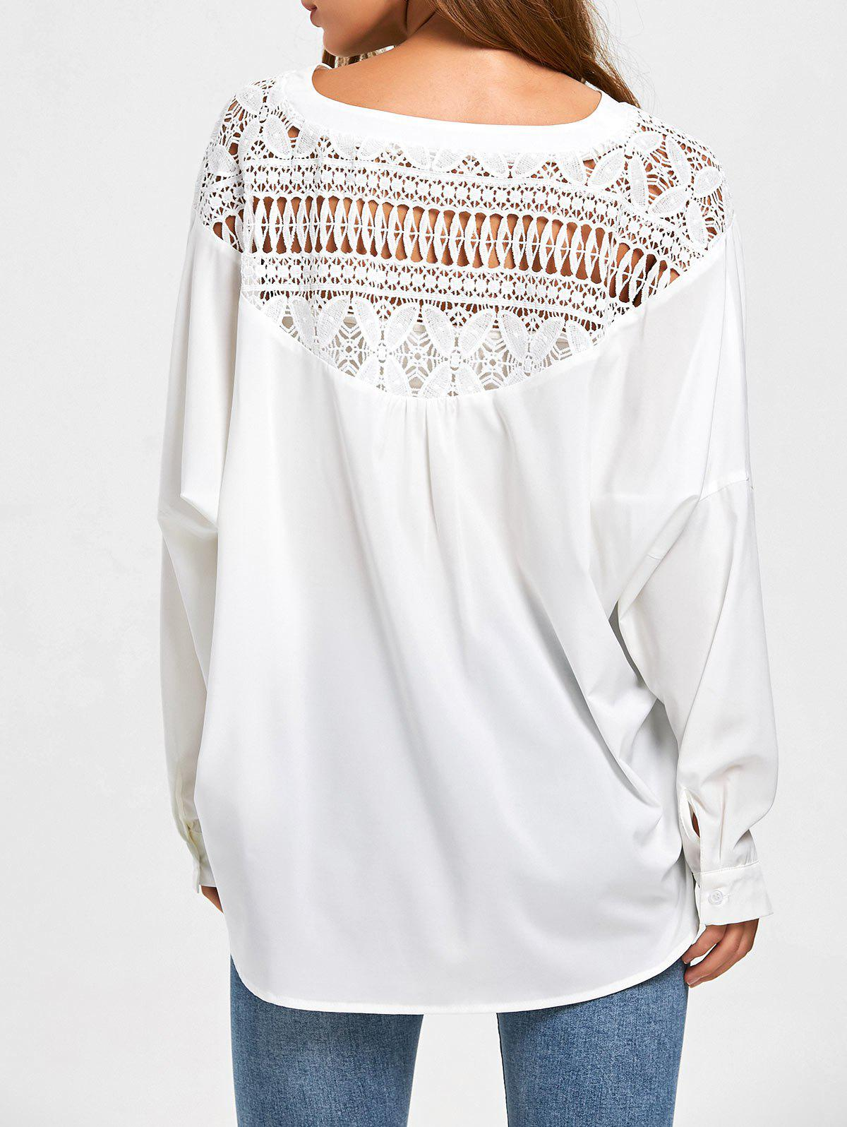 Outfit High Low Lace  Insert Oversized Shirt