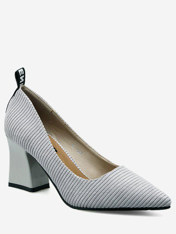 Shops Chunky Heel Stripes Pointed Toe Pumps